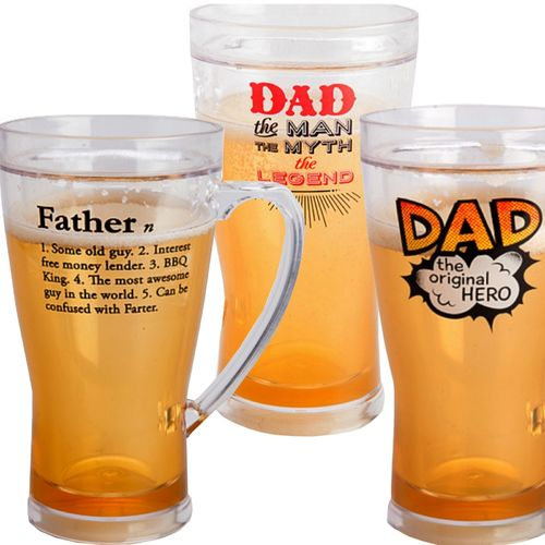 Dad Beer Mug Personalised Stein Mugs Fathers Day Gift Plastic Insulated New