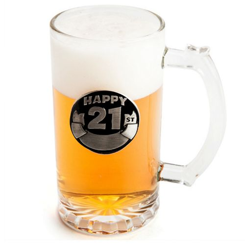 Personalised Engraved Beer Mug 21st Birthday Stein Mugs Glass Gift New