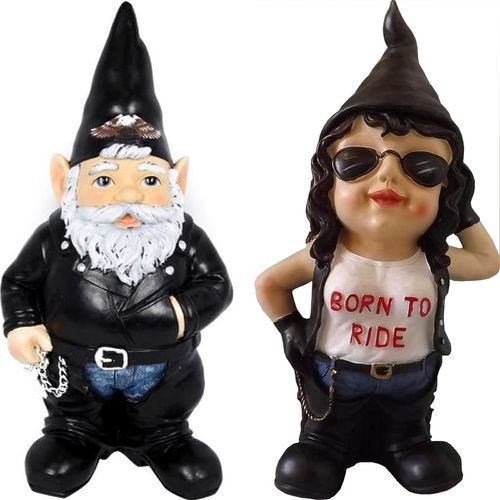 Bikie Biker Girl Garden Gnome Couple Bikie Gnomes Statue Funny Mens Novelty Gift