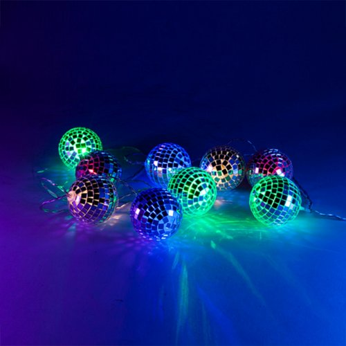 String Lights Disco Ball Party Battery Christmas Decoration Retro LED Mirror New