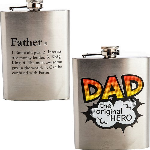 Hip Flask Silver Hipflask Dad Father 8oz 240ml Stainless Steel Flasks Gift New