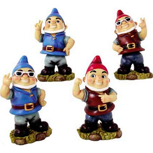Cheeky Rude Funny Garden Gnome Statue Set Naughty Gnomes Bobble Head Wobble Gift
