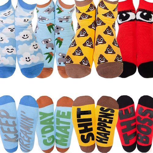 Funny Novelty Socks Grip Womens Mens Christmas Birthday Gift Shit Happens Boss