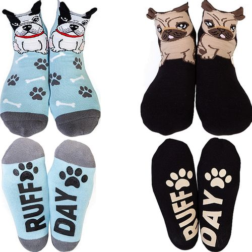 Ladies Socks Novelty Funny Cute Pug French Bull Dog Bulldog Puppy Womens Gift