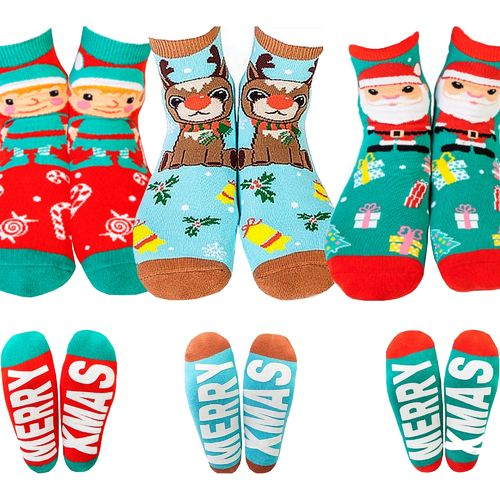 Christmas Socks Santa Claus Elf Reindeer Novelty Merry Xmas Gift Red Blue Green