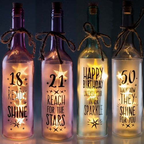 Happy Birthday 18th 21st 50th Glass Bottle Wishlight Party Decoration Wish Light