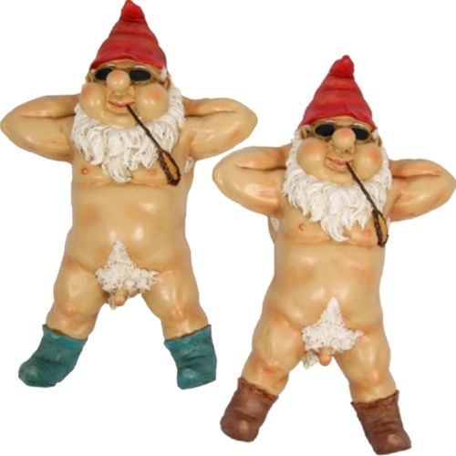 Rude Garden Gnomes Naughty Funny Male Gnome Statue Nude Novelty Gift Sunbaking