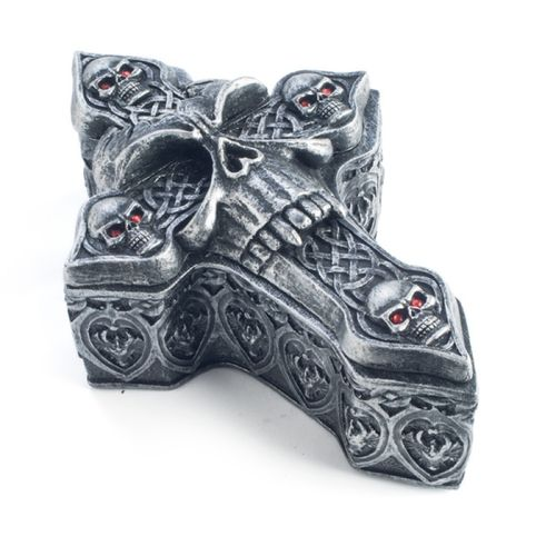Skull And Cross Bones Trinket Box jewellery Medieval Gothic Skulls Silver New