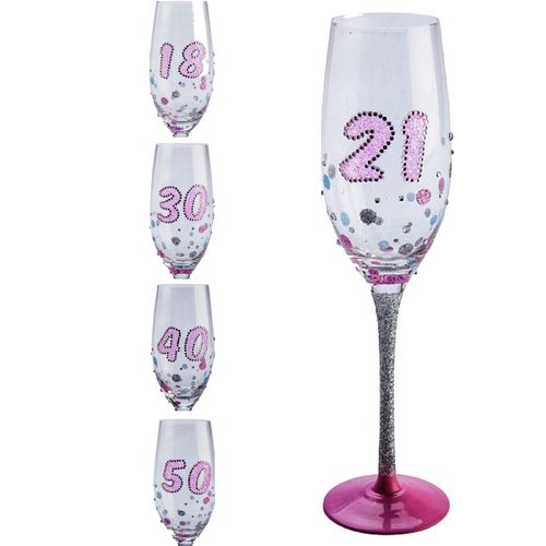 Birthday Glass 18th 21st 30th 40th 50th Wine Champagne Flute Glasses Gift Party