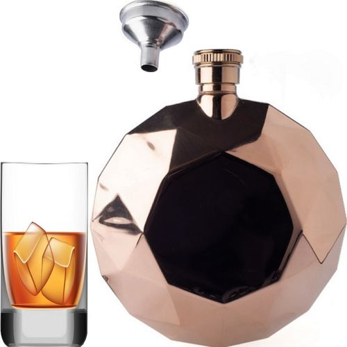 Ladies Hip Flask Alcohol Womens Liquor Whisky Party Rose Gold Round Stainless