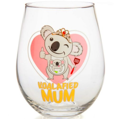 Mum Wine Glass Stemless Koala Novelty Easter Mothers Day Birthday Novelty Gift