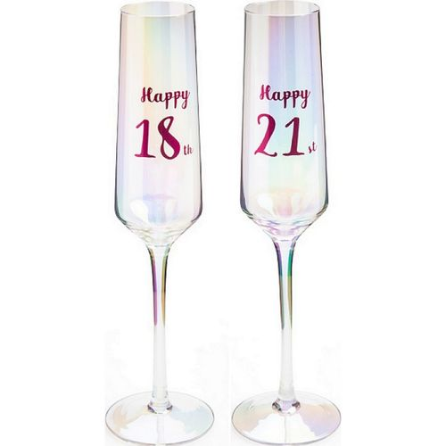 Birthday Glass 18th 21st Champagne Flute Prosecco Wine Glasses Gift Party